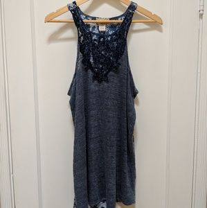 Gimmicks by BKE- Blue Floral Tank Top